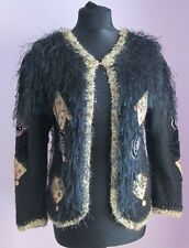 VTG Ladies Unbranded Black Shaggy Wool Applique Evening Cardigan Size XS (X19)
