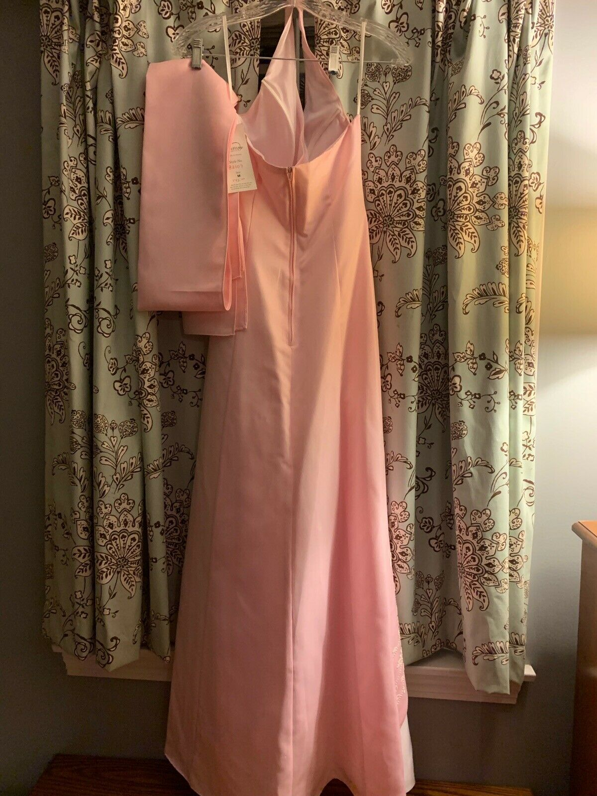 Women's Pink Floor Length Gown With Sash Size 8