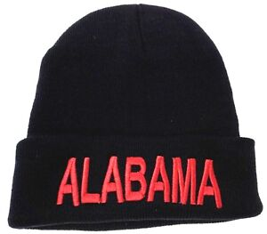 2ed2b05f56e Image is loading ALABAMA-Skull-Cap-Embroidered-Cuff-Beanie-Winter-Hat-