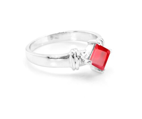 925 Sterling Silver Ring Red Ruby Natural Gemstone Solitaire Size 5-11