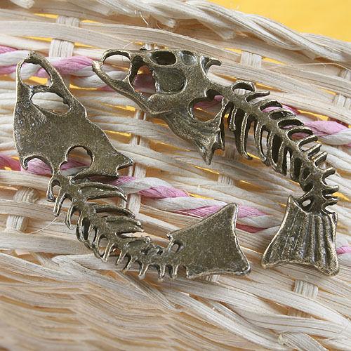 4pcs antiqued bronze bone of fish pendant charm G659