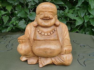Dickbauch Buddha aus Stein Glücksbuddha Statue Asien Deko Steinguss Skulptur
