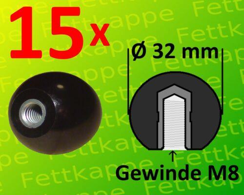 15x Kugelknopf M8 Ø32mm schwarz m Stahlgewinde Hebelknopf Schaltknauf Kugelkopf