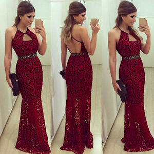 Femme-Sexy-Soiree-Cocktail-bal-ROBE-BANDAGE-ROUGE-LACETS-long-Sirene-Robe-maxi