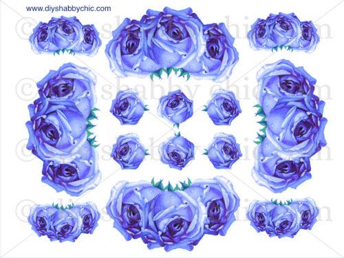 Furniture Glass Decal Image Transfer Vintage Antique French Labels Blue Rose Art