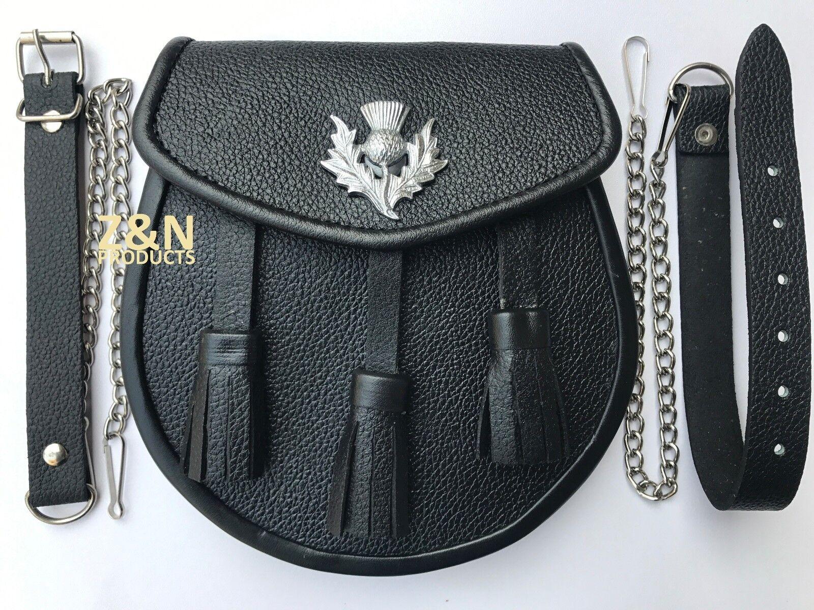 Medieval Scottish Kilt Sporran / Pouch, Real Black Cowhide Leather + Belt
