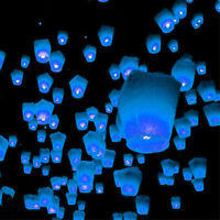 10 Blue Balloon Chinese Sky Lanterns Kongming Fire Flying Floating Memorial Wish