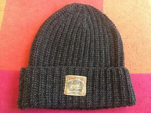 NWT POLO RALPH LAUREN RIB-KNIT LAMBSWOOL-BLEND BEANIE GREY CAP SKULLY HAT