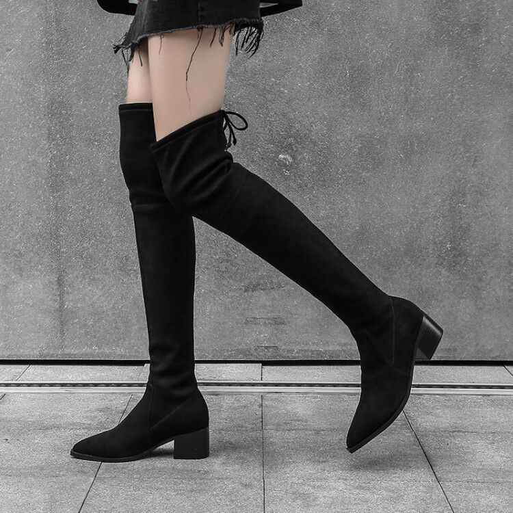 Womens Vogue Pointed Toe Mid Heel Over Knee Thigh High Stretched Boots shoes Sea