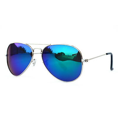 Sunglass in Aviator Style  In Mirror Blue Shade  (In Case & Wiping (Goggles)