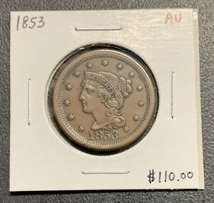 1853-U-S-BRAIDED-HAIR-LARGE-CENT-AU-CONDITION-2-95-MAX-SHIPPING-C3103