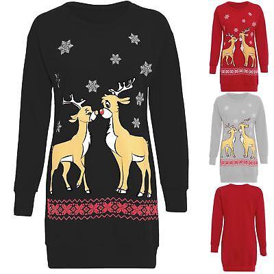 Womens Christmas Two Reindeer Sweatshirt Ladies Jumper Long Dress Top Plus Size