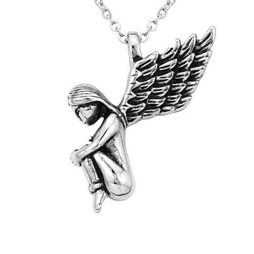 Edelstahl Engel Anhänger Kette Halskette Schutzengel Charms Silber
