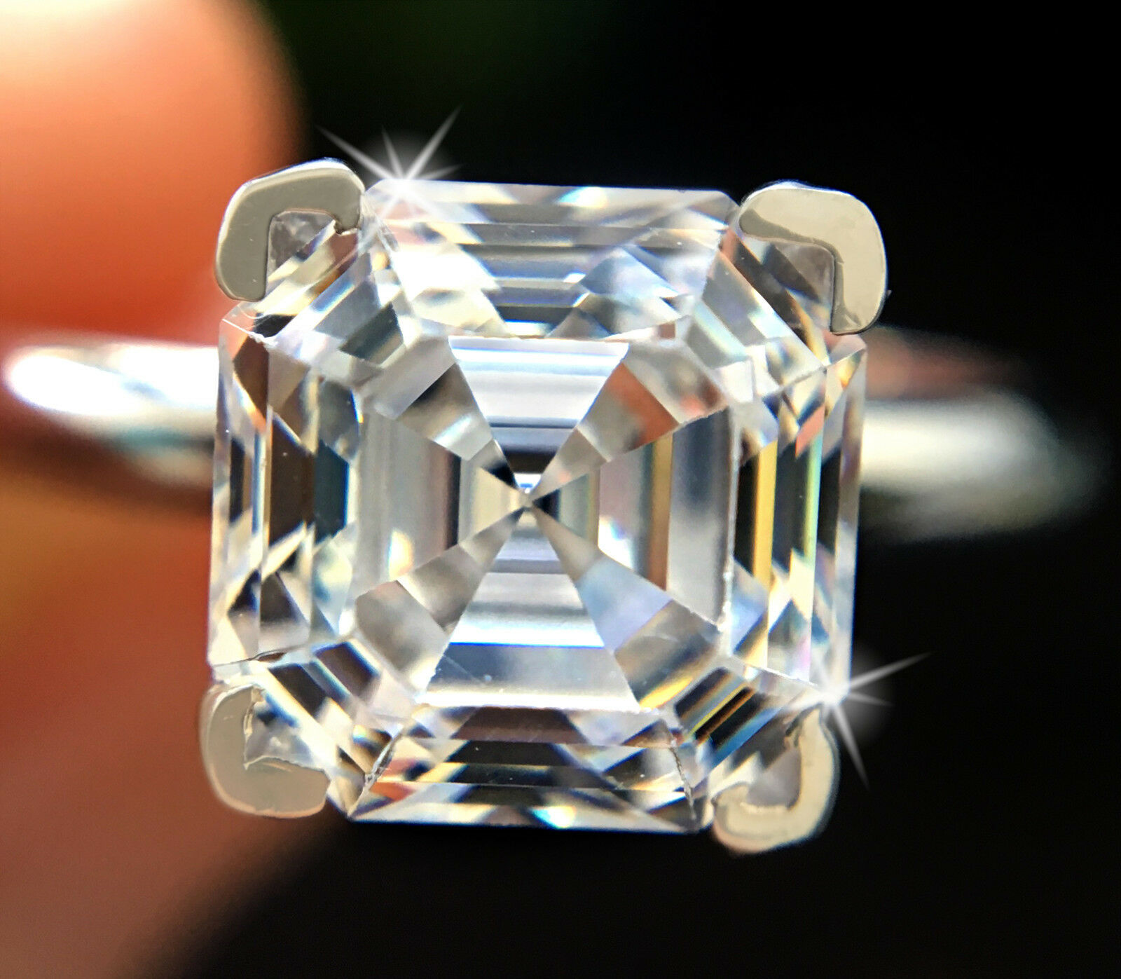 1 ct Brilliant Asscher Ring Top Russian Quality CZ Moissanite Simulant Size 11