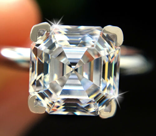 1 ct Brilliant Asscher Ring Top Russian Quality CZ Moissanite Simulant Size 9