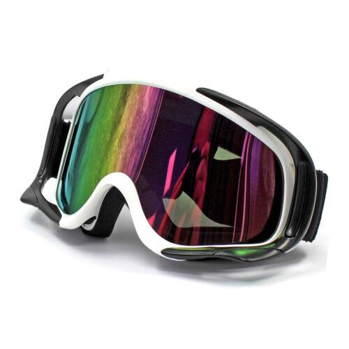 White Frame Ski Snowboard Snowmobile Outdoor Ski GOGGLES Anti Fog UV Tint Lens