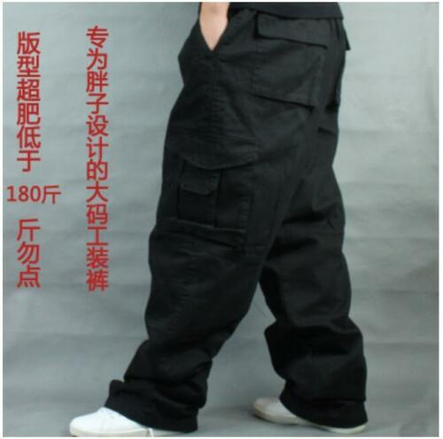 New Mens Baggy Loose Trouser Cargo Carpenters Overalls Leisure Pants Size 36-50