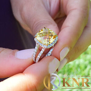 4.00 Ct Yellow Cushion Citrine /& Diamond Engagement Ring In 14k White Gold Over