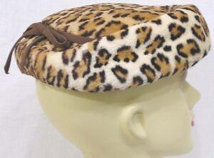 Vintage-Ladies-Hat-FAUX-Big-Cat-Print-Narrow-Grosgrain-Ribbon-1950s