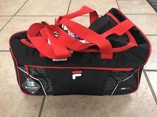 "NWT FILA Small Drone Sport Duffle Bag Small Black/Red;Shoulder Strap 19""X11""x12"""