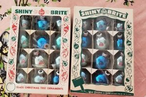 24-Vintage-Blue-Shiny-Brite-Glass-Christmas-Ornaments-W-Orig-Boxes-1-1-2-034