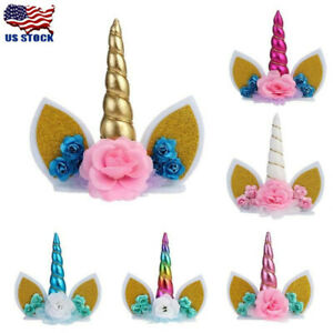 Cute-Unicorn-Horns-Cake-Topper-Birthday-Baby-Shower-Party-Supplies-DIY-Decor-US