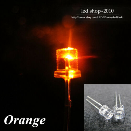 1000pcs 5mm Flat top Orange Wide Angle Super-Bright LED Light Emitting Diode DIY