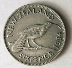 1934-Nueva-Zelanda-6-Penique-Raro-Fecha-Superior-Vintage-Bin-21
