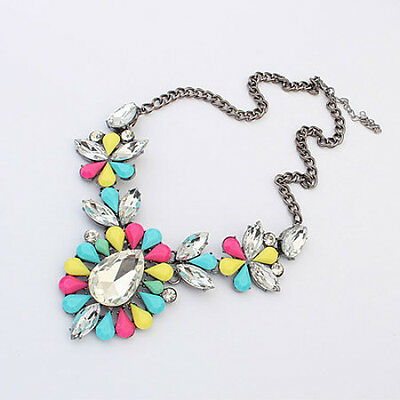 Three Piece Statement Crystal and Gem Bib Collar Necklace - Pink, Yellow, Multi