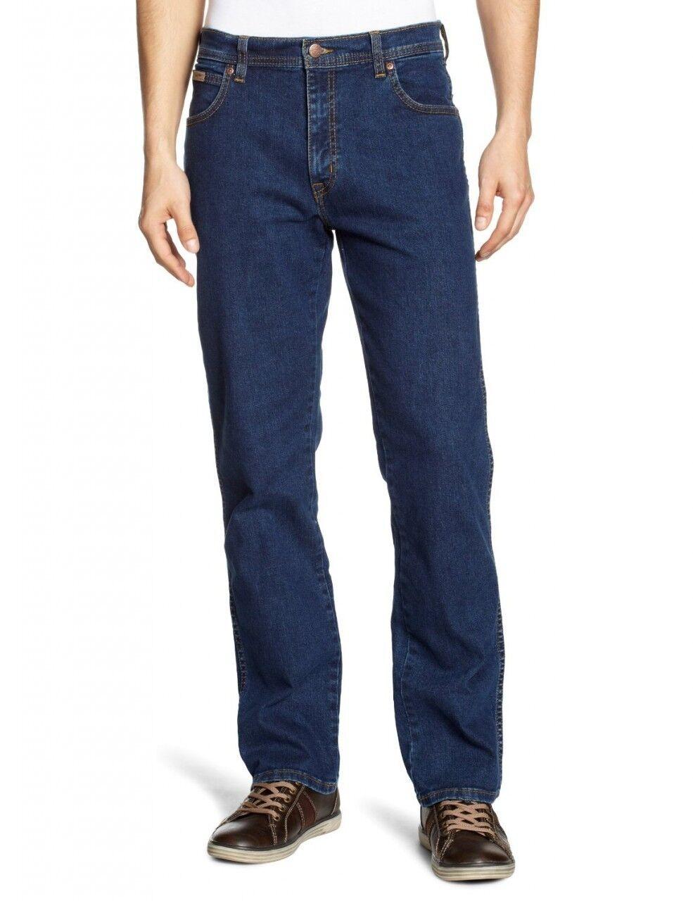 Wrangler Texas Stretch Regular Fit Denim Jeans New Men's Blau Darkstone