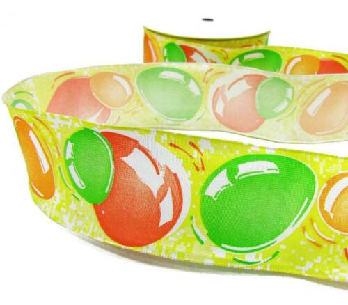 """5 Yd French Yellow Green Orange Easter Eggs Wired Ribbon 1 3//8/""""W"""