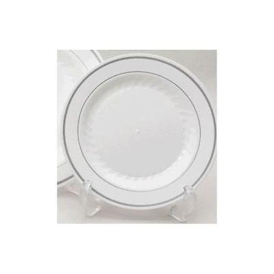 "10/"" 26cm SILVER RIM GSL 12 x WHITE STRONG PLASTIC ROUND RIDGED DINNER PLATES"