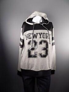 Men-039-s-New-York-American-Sports-23-Hoodie-Sweatshirt-Grey-Black-XXL-2XL-NWOT