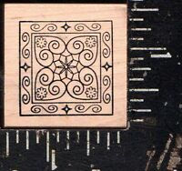 Outlines Rubber Stamp Co. Wood Mounted Rubber Stamp Small Quilt Square
