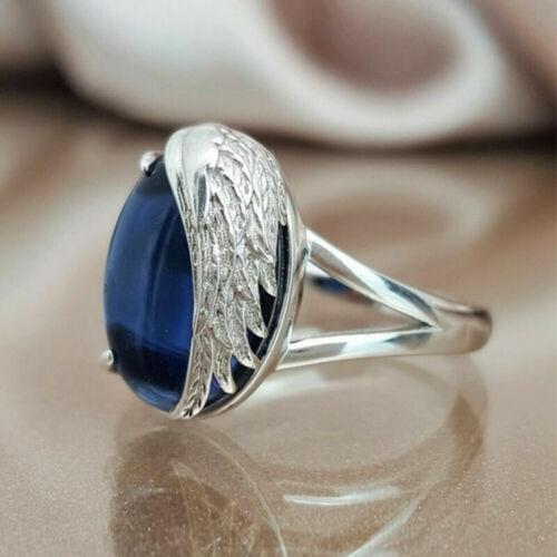 Fashion Angel Wings Blue Zircon Women Ring Silver Wedding Finger Rings Size6-10