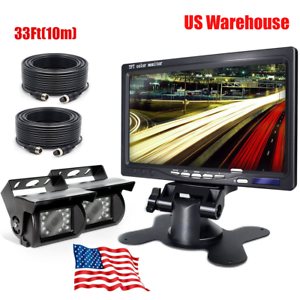 "7/"" HD LCD Monitor+Truck//RV//Trailer 4PIN Plug Backup Rear View Camera*2 Kit 10M*2"