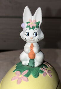 Hand Painted Bunny Rabbit On Easter Egg Byron Mold 1980 Anthropomorphic