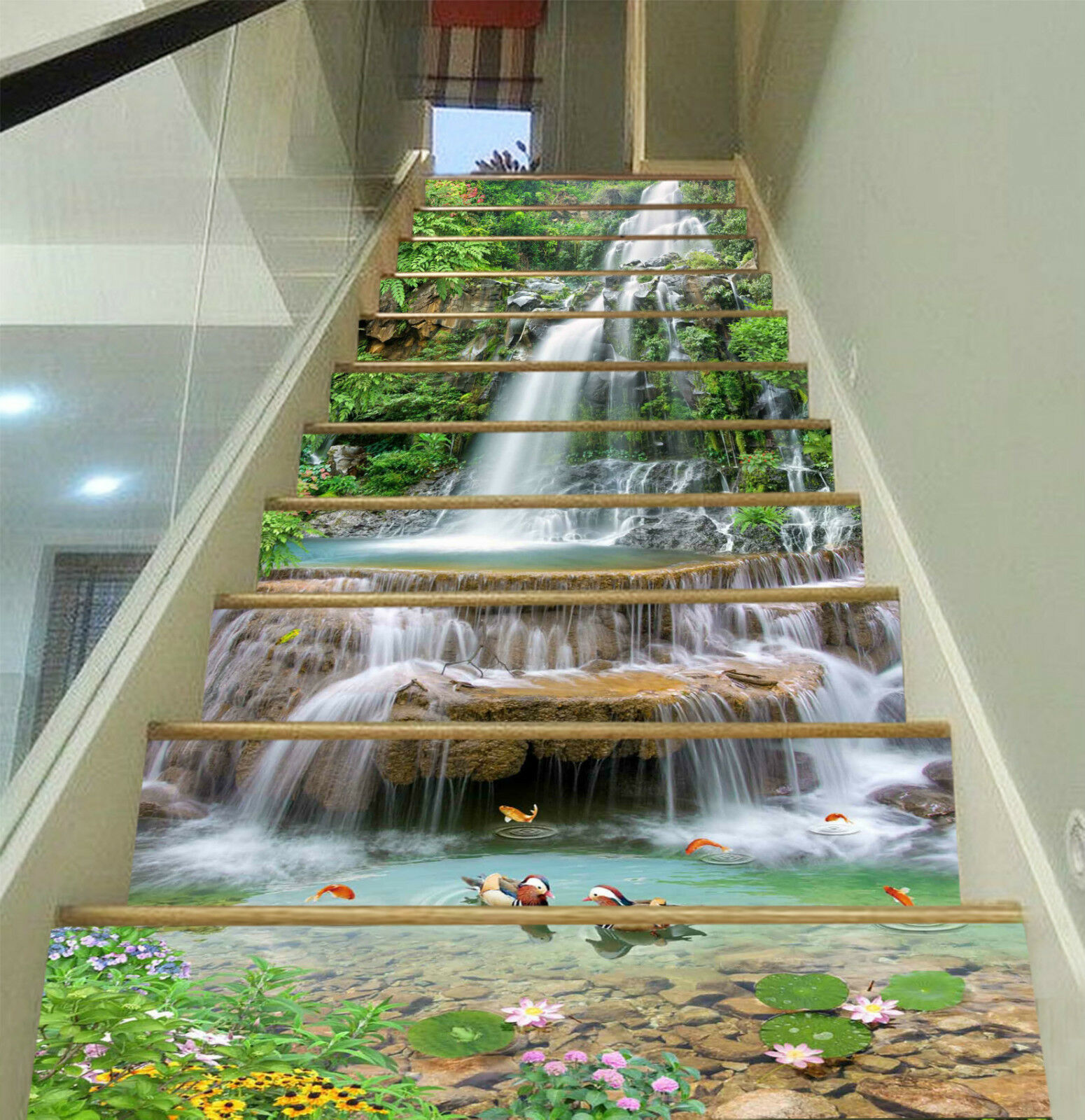 Wasserfall 3D Stair 256 DE Tapete Aufkleber Vinyl Fototapete ...