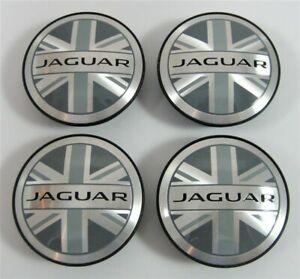 4x-59mm-Jaguar-Union-Jack-Grau-Nabendeckel-Felgendeckel-Nabenkappe-Nabendeckung