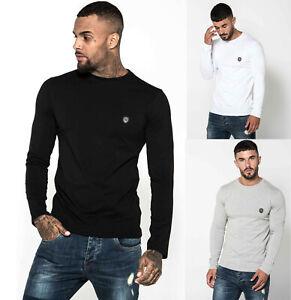 883-Police-Mens-Designer-Long-Sleeve-Slim-Fit-Cotton-Crew-Neck-Neri-T-Shirt