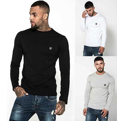 883 Police Mens Slim Fit Designer Soft Cotton Long Sleeve Stretch T shirt Tee