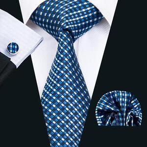 C 1419 New Classic Silk Ties Men Tie Sets Blue Wedding Formal Hanky Cufflink Set
