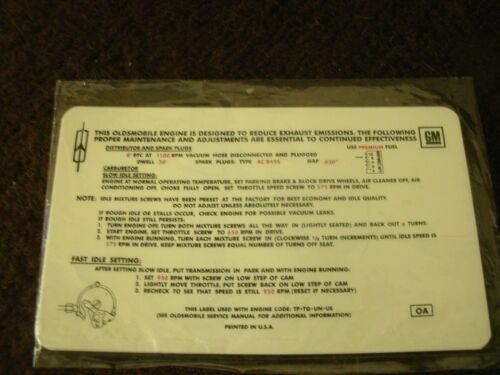 1970 OLDSMOBILE 88 98 EIGHTY-EIGHT NINETY-EIGHT DELTA 455 4V EMISSIONS DECAL B//C