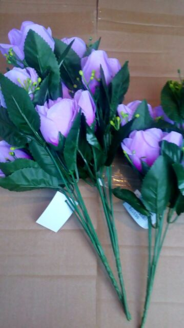 Blue 3 bunches of artificial flowers 8 head rose bud Home decor or graveside