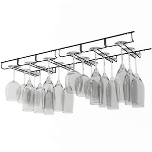 Under Cabinet Wine Glass Rack Holder Stemware Storage Bar Hanger Shelf Kitchen