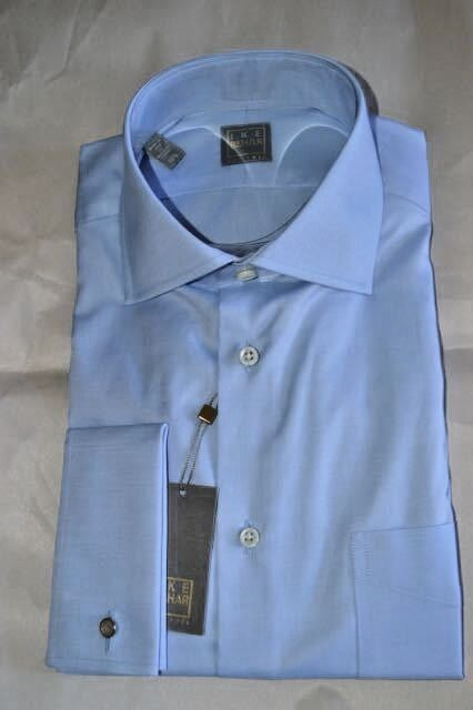 NWT IKE BEHAR gold 16 eu41 blueE s120's Cotton french cuff dress shirt USA