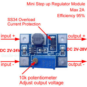 2A DC-DC boost step up volt converter power supply 2V-24V to 3v 5v 6v 9v 12v UAA
