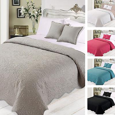 Highams Floral Large Bedspread Throw Set Grey Pink Black ...