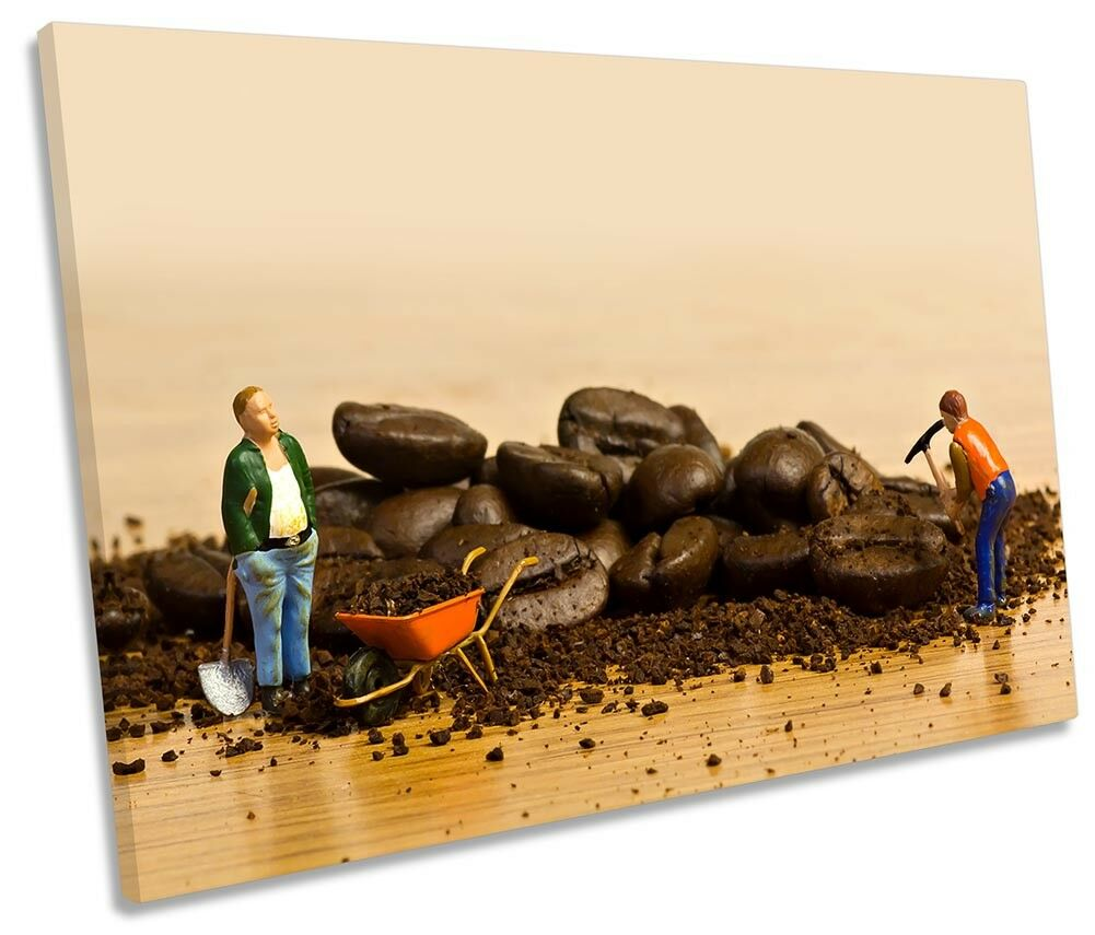 Coffee Kitchen Miners Picture SINGLE CANVAS WALL ART Print