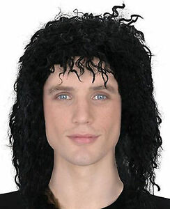 80s-90s-Pop-Star-Black-Mens-Long-Wig-Michael-Jackson-Weird-Guy-Fancy-Dress